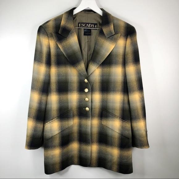 Escada Jackets & Blazers - Escada Yellow Plaid Wool Vintage Blazer